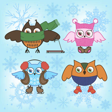 set of owls in winter things on a dark blue background with snowflakes