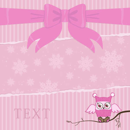 template illustration on a card with an owl in pink color