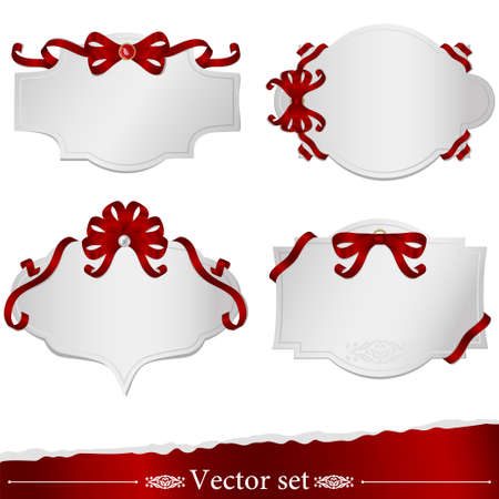 set of cards with ribbons Illustration