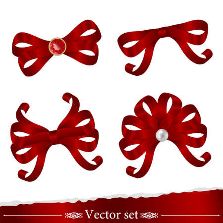 set of red ribbons for decoration design Vector