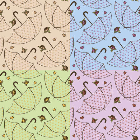 seamless texture with umbrellas and roses Vector