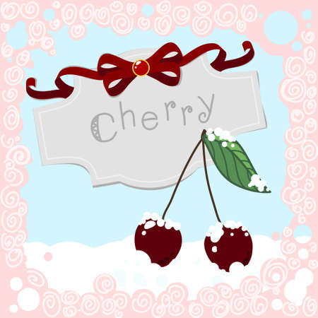 winter cherry: Cherries in the Snow with frame