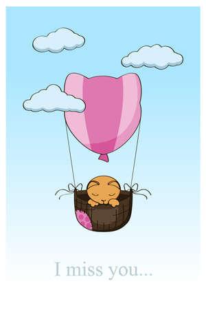 cat on a hot air balloon Stock Vector - 17248816