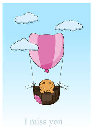 cat on a hot air balloon Illustration