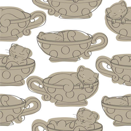texture with kittens Vector