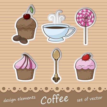 set of design elements for coffee and cake