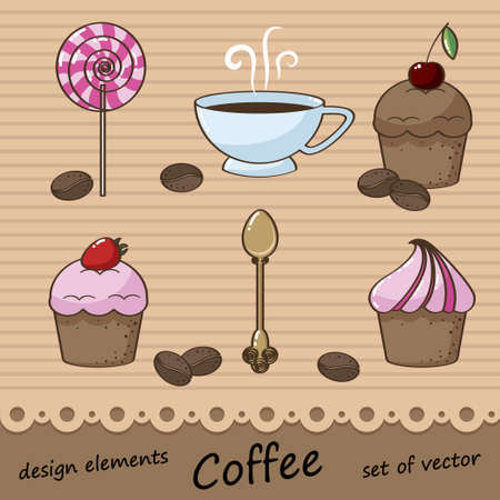 set of coffee and pastries for the design and menu