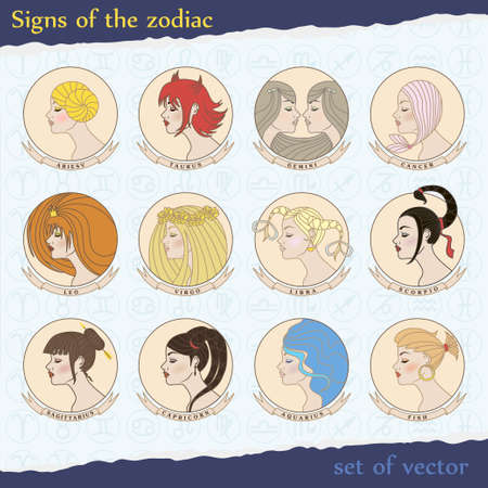 vector set of zodiac signs Vector