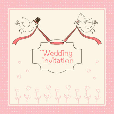 wedding couple: wedding invitation Illustration