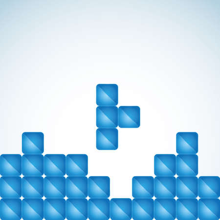 abstract illustration with glossy cubes in the style of Tetris