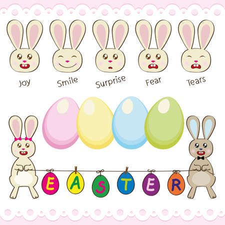Happy Easter set with Easter bunnies and Easter eggs Illustration