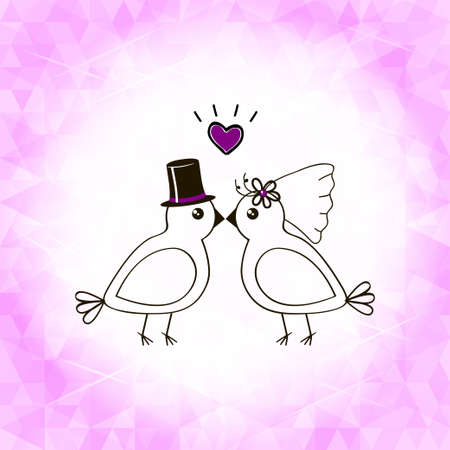 template for invitation on wedding with birdies in pink color Illustration