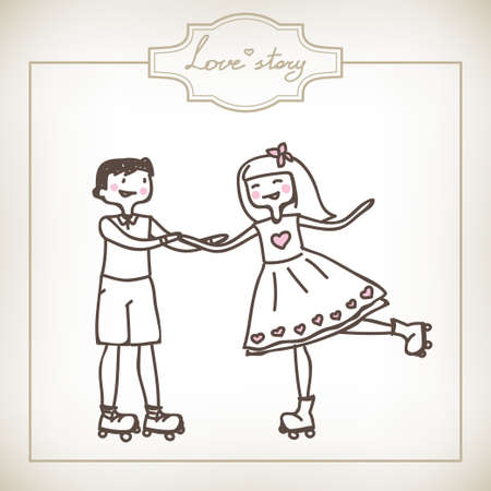 funny cartoon illustration of a young couple