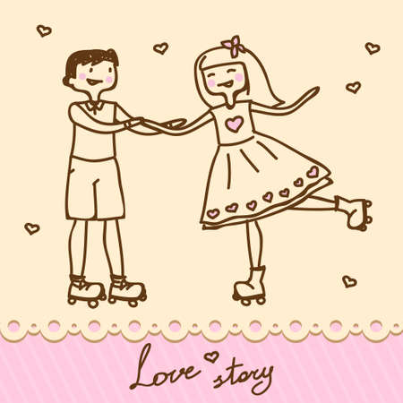 funny cartoon illustration of a young couple  Vector