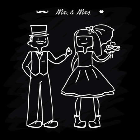 bride and groom for greeting card or wedding