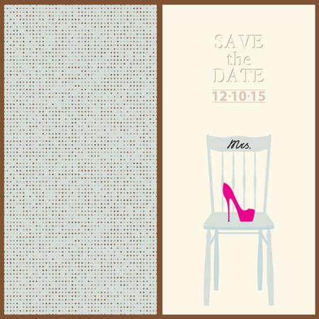 mr and mrs: save the date wedding invitation card mr & mrs template vector illustration Illustration