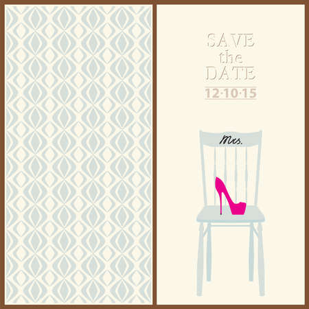 mr and mrs: save the date wedding invitation card mr & mrs template vector illustration Illustration