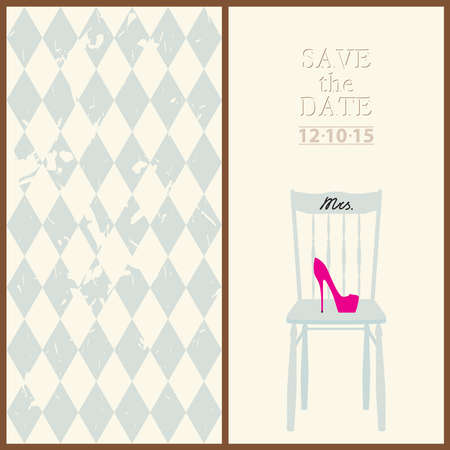 save the date wedding invitation card mr & mrs template vector illustration Illustration