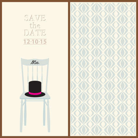 save the date wedding invitation card mr & mrs template vector illustration Illustration