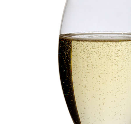 Glass of champagne isolated on white.Studio shot.Detail, close up