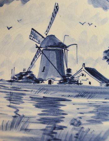 Antique Blue Plate with Dutch Windmill Painting