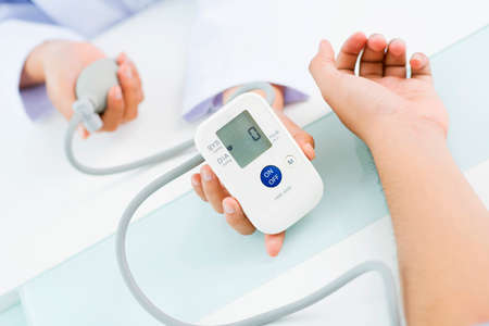 tonometer: Close-up of digital screen of blood pressure gauge