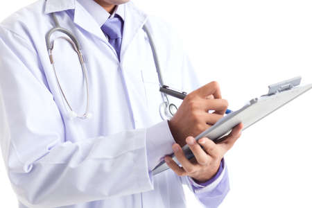 prescript: Close-up image of a doctor filling the form Stock Photo
