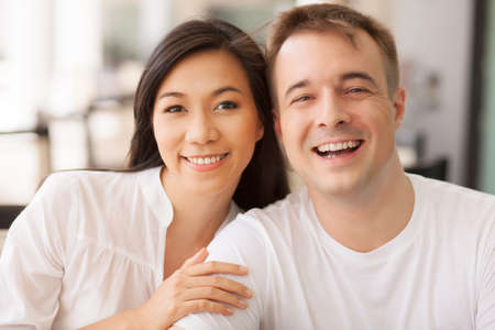 human relations: Portrait of young smiling couple