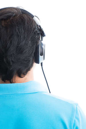 cutouts: Rear view of a male head in headphones