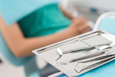 Macro shot of shiny dental tools