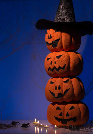 Halloween composition of stacking Jack O Lanterns