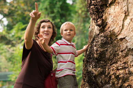 Portrait of a mum and a son in the zoo Stock Photo