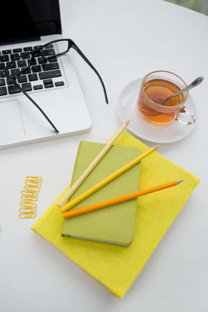 Things on the table which are necessary for working Stock Photo