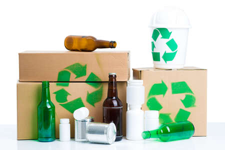 reciclable: Close up of recyclable things Foto de archivo