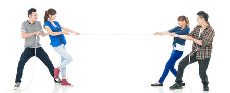 Teams pulling cords isolated against a white background