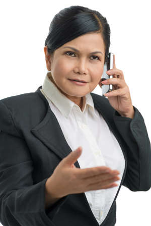 Portrait of an asian businesswoman talking by phone