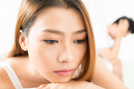 Close-shot of a girlfriend's face with a tear on it after quarrel