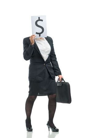 Image of a woman having only money in her mind Stock Photo