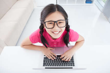 diligente: Portrait of an excited pupil working with the computer inside