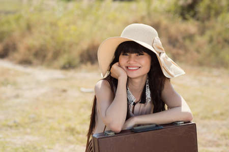 mujer sola: Copy-spaced portrait of an attractive girl smiling and looking at camera