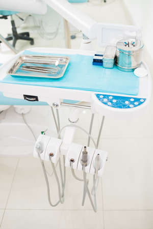 scaler: Close-up of the dentist�s equipment in the dental office Stock Photo