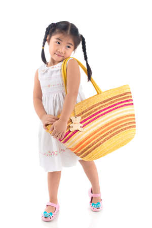Isolated image of a little modest girl against white background