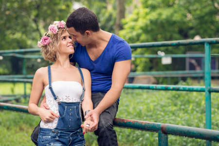 Copy-spaced image of a young couple in-love outside Stock Photo