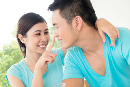 Close-up image of a young couple having fun in the apartment Stock Photo