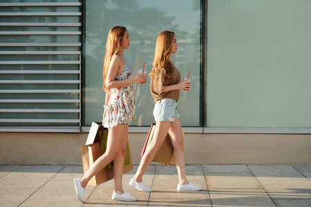 Side view of pretty Vietnamese sisters with shopping bags walking along the street Stock Photo