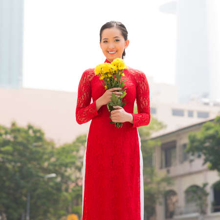 lifestyle looking lovely: Portrait of a Vietnamese woman in traditional dress