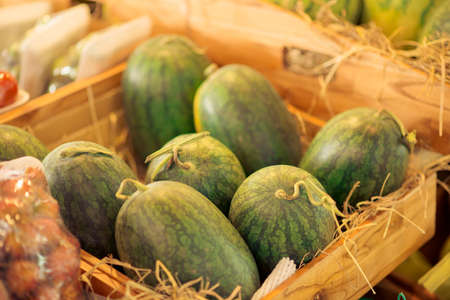 Closeup image of exotic watermelons in the market stand