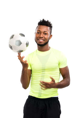 Football player spinning a ball on his finger