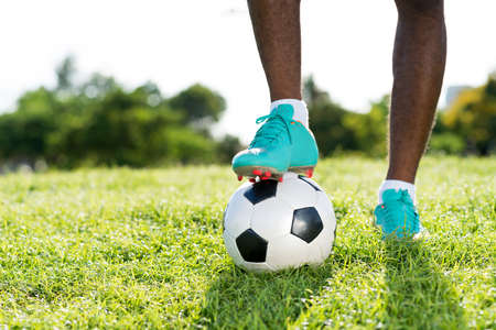 Football at the kickoff of the game