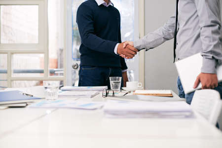 agreement: Greeting business partner Stock Photo